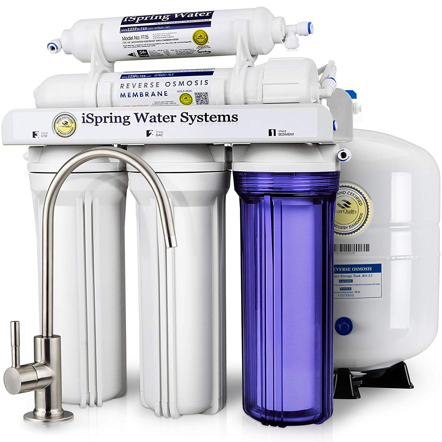 iSpring RCC7 High-Capacity Under Sink 5-Stage Reverse Osmosis Drinking Water Filtration System