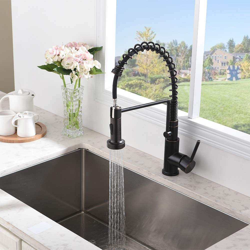 Friho Lead-Free Commercial Oil Rubbed Bronze Stainless Steel Kitchen Sink Faucet