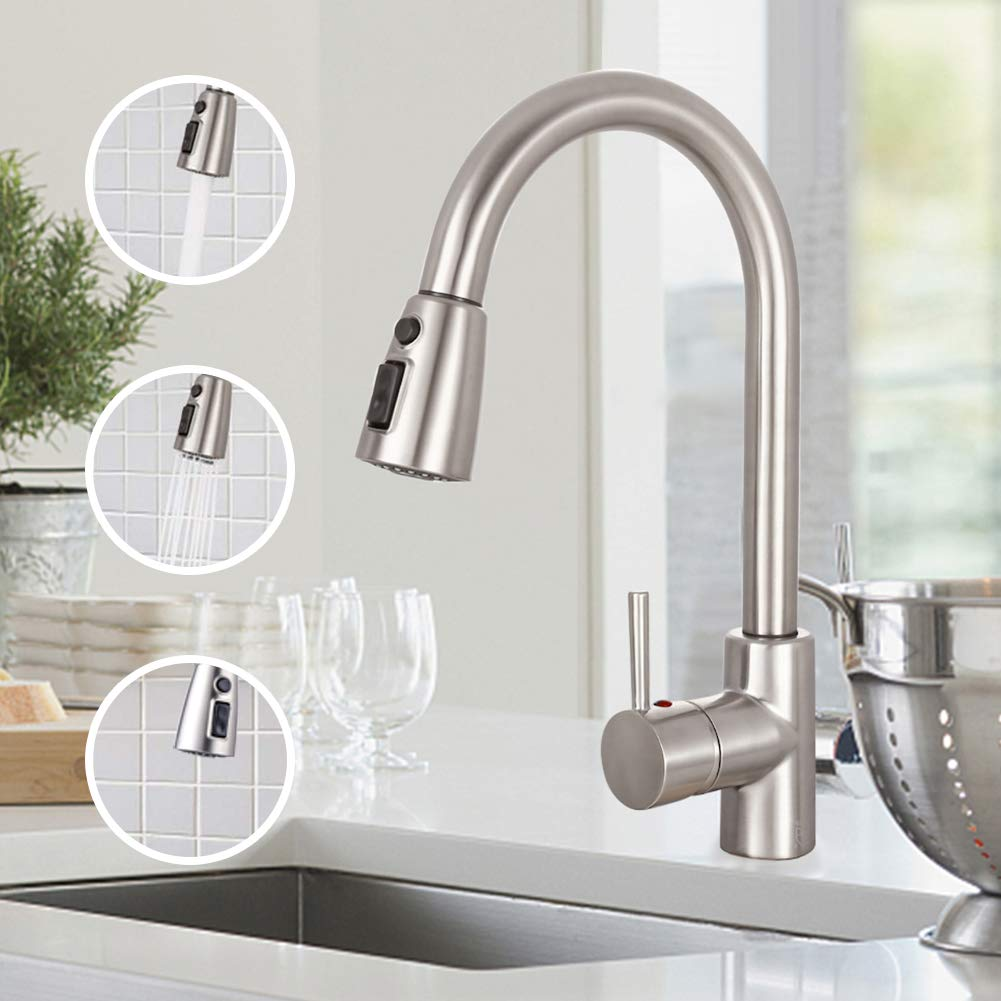 TECCPO Single Handle High Arc Brushed Nickel Stainless Steel Faucet